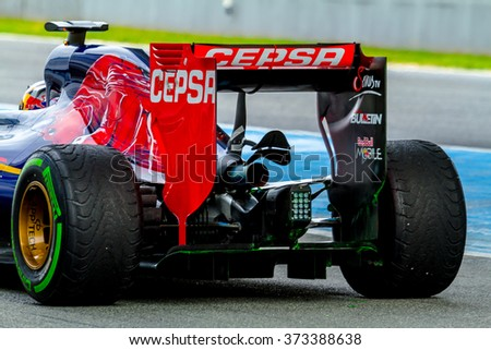 JEREZ DE LA FRONTERA, SPAIN - FEB 03:  Carlos Sainz of Scuderia Toro Rosso F1 Team leaving pits on training session on February 03 , 2015, in Jerez de la Frontera , Spain - stock photo