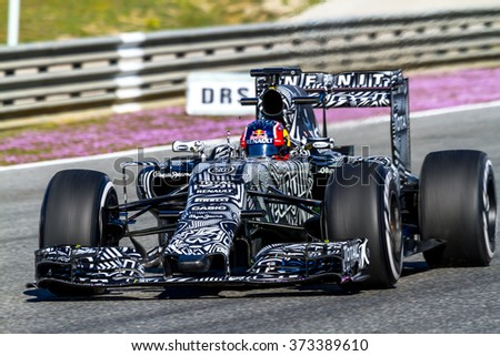 JEREZ DE LA FRONTERA, SPAIN - FEB 04:  Daniil Kvyat of Red Bull Racing F1 Team races on training session on February 04 , 2015, in Jerez de la Frontera , Spain - stock photo