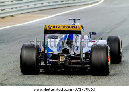 JEREZ DE LA FRONTERA, SPAIN - FEB 03:  Felipe Nasr of Sauber MotorSport F1 Team leaving pits 