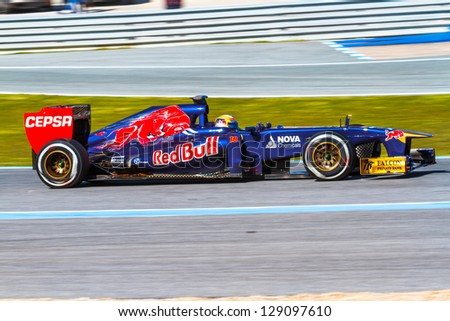 JEREZ DE LA FRONTERA, SPAIN - FEB 08: Jean-Eric Vergne of Scuderia Toro Rosso races on training session on February 08 , 2013, in Jerez de la Frontera , Spain - stock photo