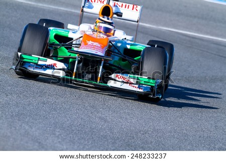 JEREZ DE LA FRONTERA, SPAIN - FEB 10: Nico H���¼lkenberg of Force India F1 races on training session on February 10 , 2012, in Jerez de la Frontera , Spain
