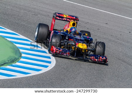 JEREZ DE LA FRONTERA, SPAIN - FEB 10: Sebastian Vettel of Red Bull F1 races on training session on February 10 , 2012, in Jerez de la Frontera , Spain - stock photo