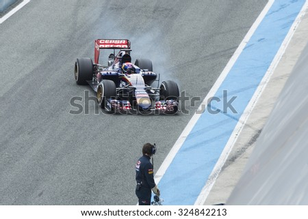 JEREZ DE LA FRONTERA, SPAIN - FEBRUARY 02:  Max Verstappen, pilot of the team Toro Rosso in test Formula 1 in Circuito de Jerez on feb 02, 2015 in Jerez de la frontera.
