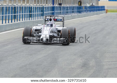JEREZ DE LA FRONTERA, SPAIN - FEBRUARY 02: Valtteri Bottas, pilot of the team Williams Martini in test Formula 1 in Circuito de Jerez on feb 02, 2015 in Jerez de la frontera.