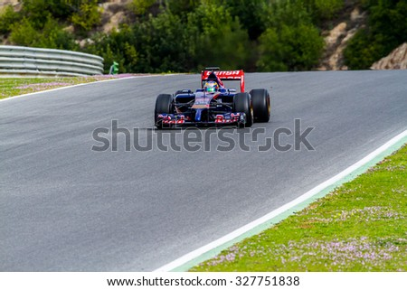 JEREZ DE LA FRONTERA, SPAIN - JAN 28:  Jean-Eric Vergne of Toro Rosso F1 races on training session on January 28 , 2014, in Jerez de la Frontera , Spain - stock photo