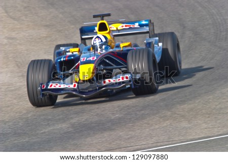JEREZ DE LA FRONTERA, SPAIN - JUN 22: David Coulthard of Red Bull Racing races on training session on  June 22 , 2005, in Jerez de la Frontera , Spain - stock photo
