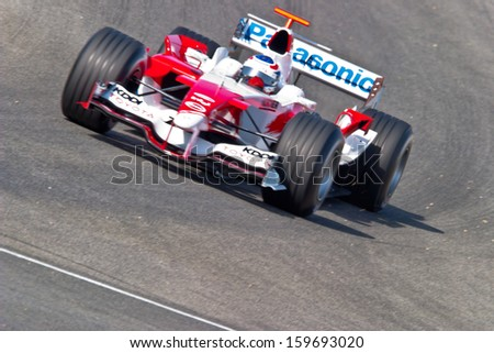 JEREZ DE LA FRONTERA, SPAIN - JUN 22: Olivier Panis of Toyota F1 races on training session on  June 22 , 2005, in Jerez de la Frontera , Spain