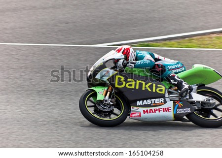 JEREZ DE LA FRONTERA, SPAIN - MAR 5: Moto2 motorcyclist Nico Terol races in the MotoGP Official Trainnig on Mar 5, 2011 in Jerez de la Frontera, Spain - stock photo