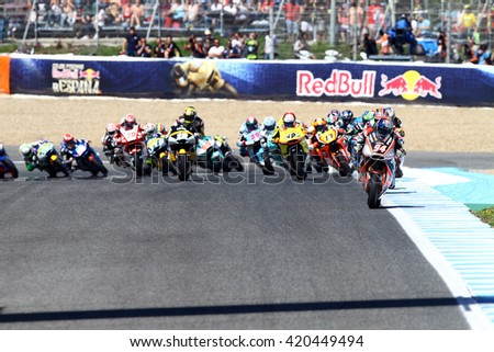JEREZ - SPAIN, APRIL 24: First lap of Moto2 race at 2016 Red Bull MotoGP of Spain at Jerez circuit on April 24, 2016