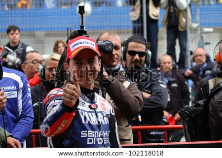JEREZ, SPAIN - APRIL 29: Jorge Lorenzo at Bet and Win MotoGP of Spain in Jerez on April 29 2012