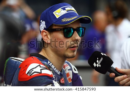 JEREZ - SPAIN, APRIL 23: Spanish Yamaha rider Jorge Lorenzo at 2016 Red Bull MotoGP of Spain at Jerez circuit on April 23, 2016