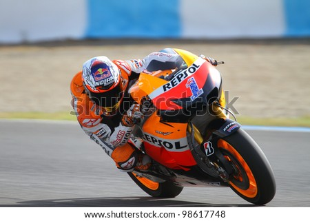JEREZ, SPAIN - MARCH 25: Australian Honda rider Casey Stoner in action during pre-season test at Jerez circuit in Jerez, Spain on March 25, 2012