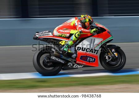 JEREZ - SPAIN, MARCH 23: Italian Ducati rider Valentino Rossi during pre-season test at Jerez circuit on March 23, 2012 - stock photo