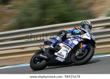 JEREZ - SPAIN, MARCH 23: US Yamaha rider Ben Spies during pre-season test at Jerez circuit in Spain on March 23, 2012