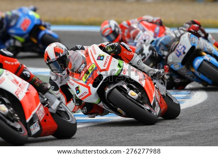 JEREZ - SPAIN, MAY 3: Colombian Ducati rider Yonny Hernandez at 2015 Bwin MotoGP of Spain at Jerez circuit on May 3, 2015