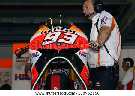 JEREZ - SPAIN, MAY 4: Honda bike of Marc Marquez during practice at 2013 Bwin MotoGP of Spain at Jerez circuit on May 4, 2013