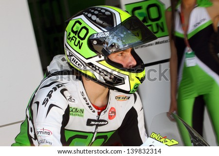 JEREZ - SPAIN, MAY 4: Italian Honda Moto3 rider Lorenzo Baldassari during practice at 2013 Bwin MotoGP of Spain at Jerez circuit on May 4, 2013 - stock photo