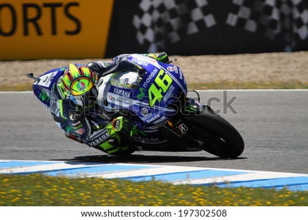 JEREZ - SPAIN, MAY 5: Italian Yamaha rider Valentino Rossi during 2014 Bwin MotoGP of Spain at Jerez circuit on May 5, 2014 - stock photo