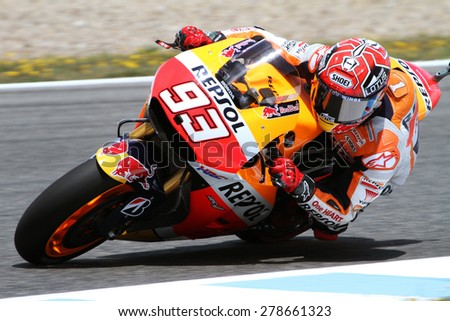 JEREZ - SPAIN, MAY 1: Spanish Honda rider Marc Marquez at 2015 Bwin MotoGP of Spain at Jerez circuit on May 1, 2015