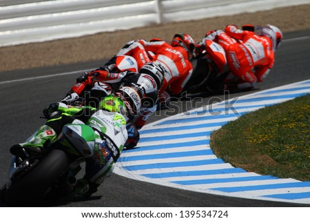 JEREZ - SPAIN, MAY 5: Spanish Moto2 rider Nico Terol leads the others at Bwin MotoGP of Spain at Jerez circuit on May 5, 2013 - stock photo