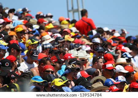 JEREZ - SPAIN, MAY 5: Spectators at Bwin MotoGP of Spain at Jerez circuit on May 5, 2013 - stock photo