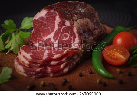 jerked scrag on the cutting board - stock photo