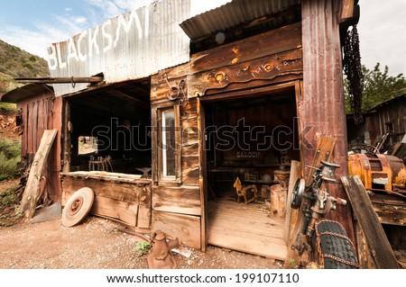 Jerome Arizona Ghost Town mine and saloon - stock photo