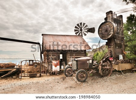 Jerome Arizona Ghost Town mine windmill wild western - stock photo