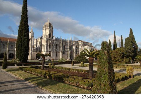 Jeronimos Monastery view from park in sunlight - stock photo