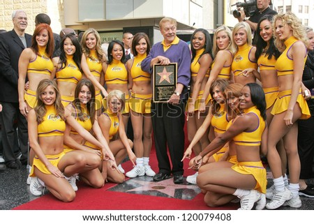 Jerry Buss and the Laker Girls at the Ceremony Honoring Los Angeles Lakers Owner Jerry Buss with the 2,323rd star on the Hollywood Walk of Fame. Hollywood Boulevard, Hollywood, CA. 10-30-06 - stock photo