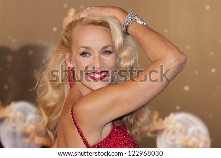 Jerry Hall arriving for the Strictly Come Dancing 2012 Launch, Television Centre, London. 11/09/2012 Picture by: Simon Burchel - stock photo