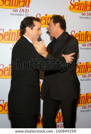 Jerry Seinfeld and Michael Richards at the celebration for the release of the SEINFELD DVD at the Rainbow Room, New York, November 17, 2004 - stock photo
