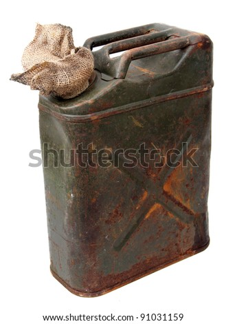 jerrycan and cloth - stock photo