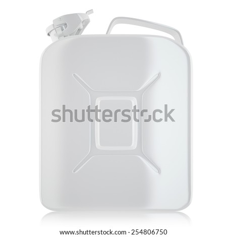 Jerrycan, container for fuel. Canister of gasoline by isolated on white background. 3d high resolution image - stock photo