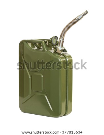 Jerrycan with flexi pipe spout. Fuel can. - stock photo