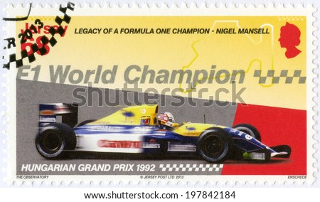 """JERSEY - CIRCA 2013: A stamp printed in Jersey dedicated Nigel Mansell, F1 World Championship, Hungarian Grand Prix 1992, """"Legacy of a Formula One champion - Nigel Mansell"""", circa 2013 - stock photo"""