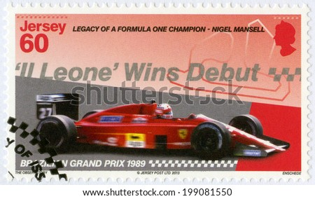 """JERSEY - CIRCA 2013: A stamp printed in Jersey dedicated Nigel Mansell, First F1 win at the Brazilian Grand Prix for Team Ferrari 1989, """"Legacy of a Formula One champion - Nigel Mansell"""", circa 2013 - stock photo"""