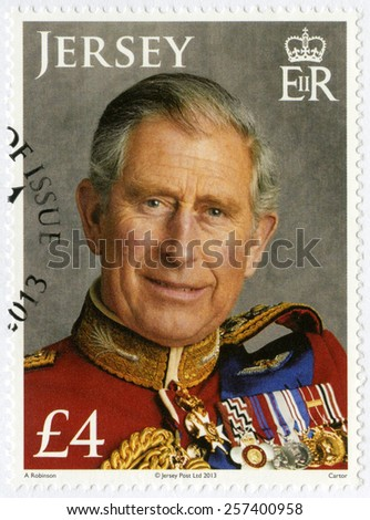 JERSEY - CIRCA 2013: A stamp printed in Jersey shows Charles, Prince of Wales, 65th Birthday, circa 2013 - stock photo