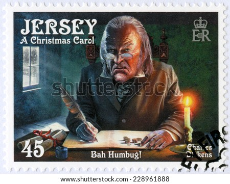JERSEY - CIRCA 2012: A stamp printed in Jersey shows illustrations from A Christmas Carol, 200th anniversary of Charles Dickens(1812-1870), circa 2012 - stock photo