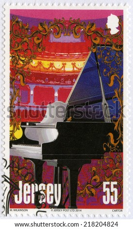 JERSEY - CIRCA 2014: A stamp printed in Jersey shows piano, series Musical Instruments, circa 2014