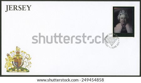 JERSEY - CIRCA 2012: A stamp printed in Jersey shows the? first official holographic portrait of Her Majesty The Queen created by artist Chris Levine and holographer Rob Munday, circa 2012 - stock photo