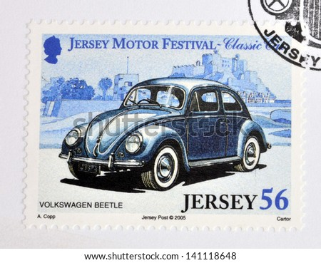 JERSEY - CIRCA 2005: Stamp printed in Jersey dedicated to classic cars, shows Volkswagen Beetle, circa 2005 - stock photo