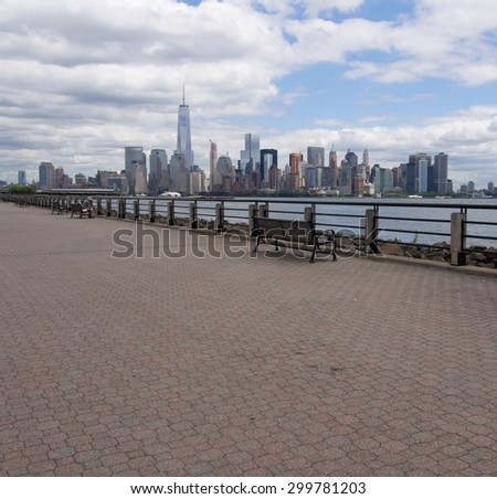 Jersey City, New Jersey - June 29, 2015: View of lower Manhattan from Liberty State Park