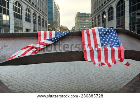 JERSEY CITY, NEW JERSEY - NOVEMBER 8, 2014: World Trade Center Memorial in Jersey City dedicated to those who died, those who survived and those whose lives where changed forever on September 11, 2001 - stock photo