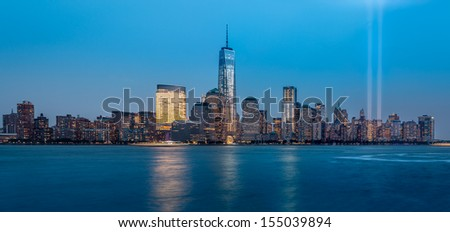 JERSEY CITY, NEW JERSEY - SEPTEMBER 11: Tribute in Light memorial on September 11, 2013 in Jersey City, New Jersey. - stock photo