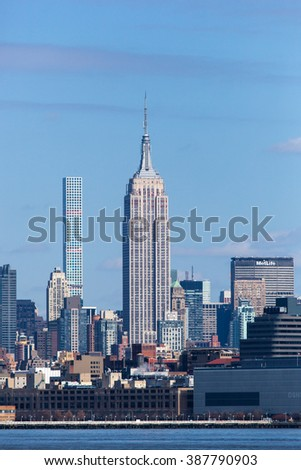 JERSEY CITY, NJ - MARCH 6: A view of the Midtown Manhattan skyline, showing the Empire State Building as seen from Liberty State Park on March 6, 2016.