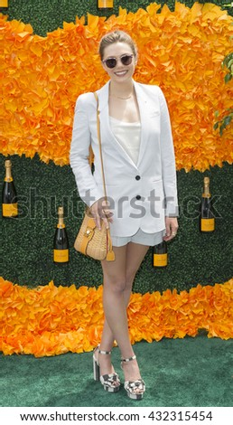 Jersey City, NJ USA - June 4, 2016: Elizabeth Olsen attends 9th annual Veuve Clicquot Polo Classic at Liberty State Park - stock photo