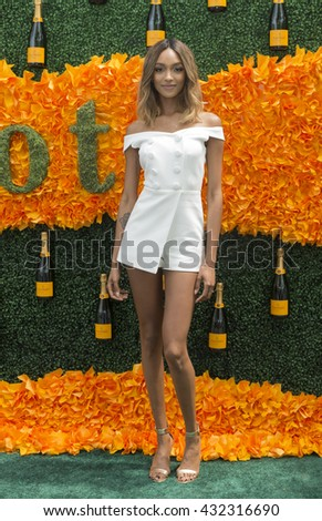 Jersey City, NJ USA - June 4, 2016: Jourdan Dunn attends 9th annual Veuve Clicquot Polo Classic at Liberty State Park - stock photo