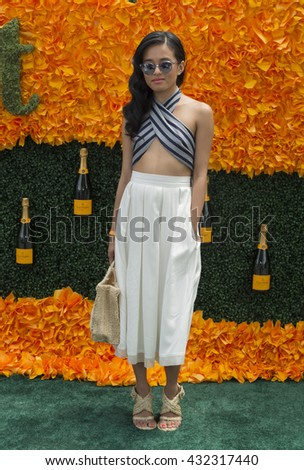 Jersey City, NJ USA - June 4, 2016: Olivia Lopez attends 9th annual Veuve Clicquot Polo Classic at Liberty State Park - stock photo