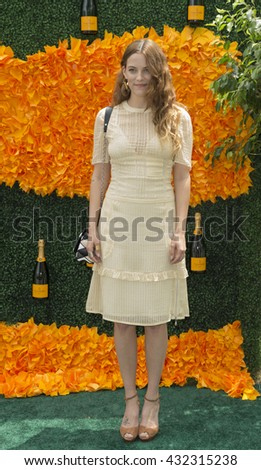 Jersey City, NJ USA - June 4, 2016: Riley Keough attends 9th annual Veuve Clicquot Polo Classic at Liberty State Park - stock photo